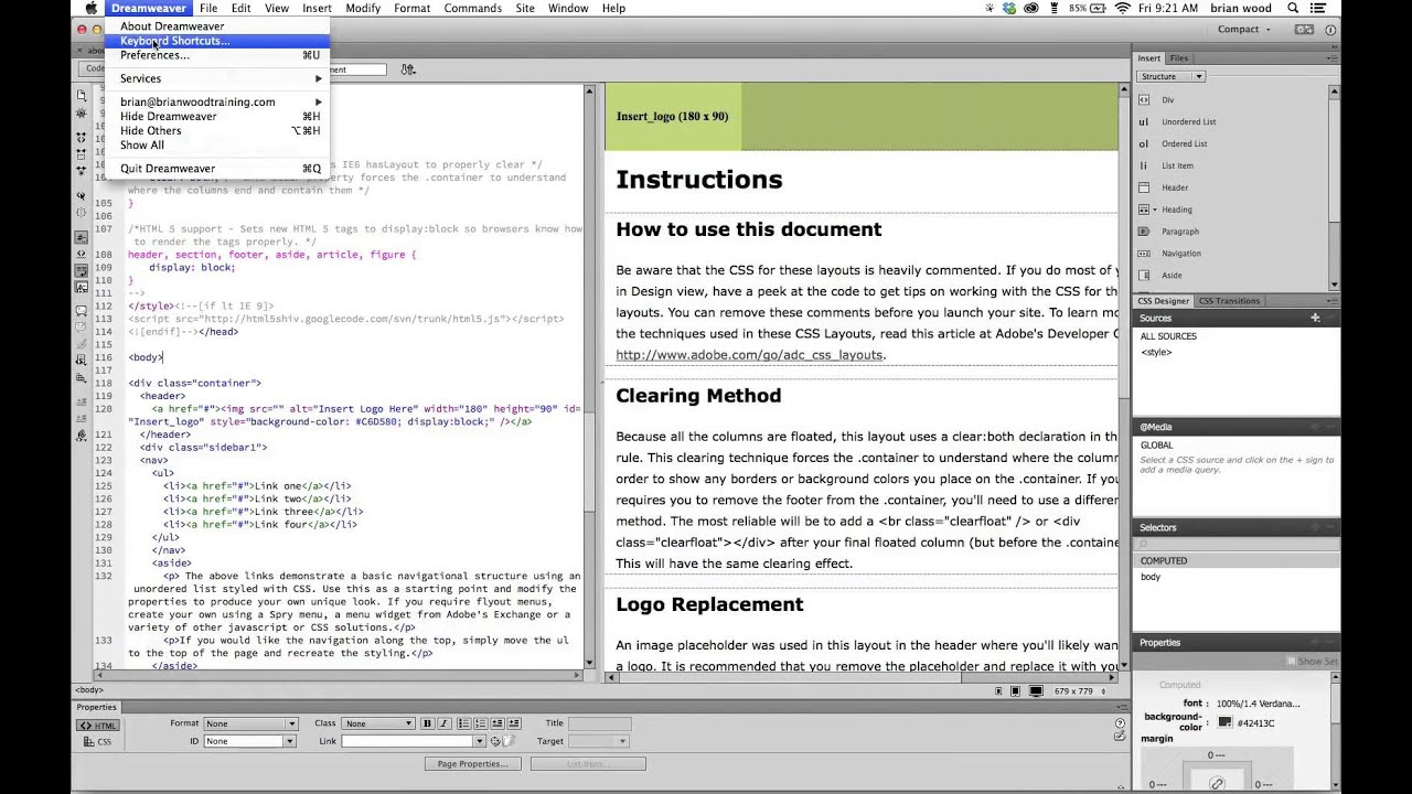 Change code font size in Adobe Dreamweaver - YouTube