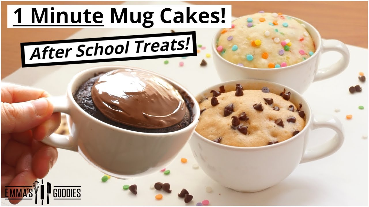 1 Minute Microwave Mug Cake Recipes 3 Back To School Treats Youtube