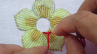 Hand Embroidery with Beads, Flower Embroidery with Beads Work, Beads Flower