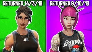 every RARE SKIN that has RETURNED in Fortnite... (History of rare skins)