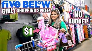 I SPENT ALL OḞ MY MONEY! FIVE BELOW GIRLY NO BUDGET SHOPPING SPREE!