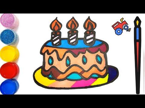 dessiner-un-gâteau-d'anniversaire-pour-bébé---coloriage-gâteau-pour-les-enfants