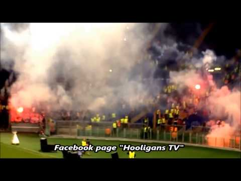 Chaos during the match AS Roma vs CSKA Moscow 17.09.2014 (HD) thumbnail