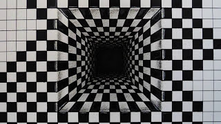 How to draw - 3d illusion, hole of chesspattern - foreshorten