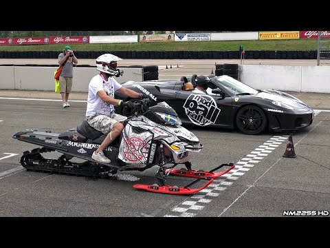 Snowmobile Races Vs. Ferrari 458 and F430 Spider in Drag Race!! - Modball Rally 2015