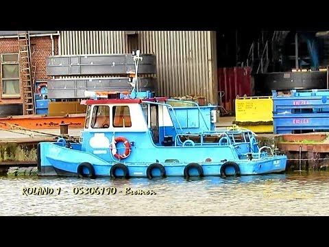 safety vessel EAGLE YJQQ8 IMO 8325171 and tiny shipyard tug ROLAND 1 Emden Germany