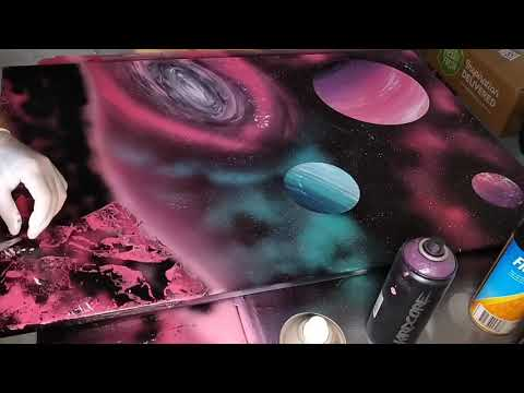 Large canvas spray art time lapse.