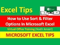 Excel Tips (Sort & Filter Options) Excel Basic Training and Tutorial