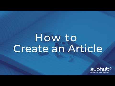 How to Create an Article