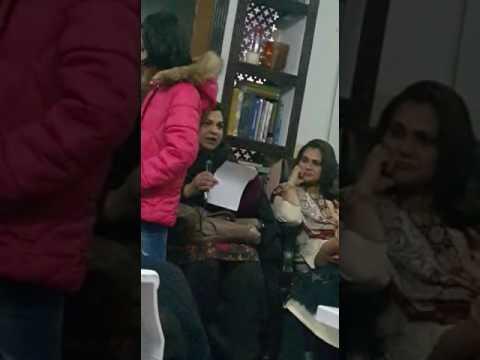 Literary evening Islamabad books and language club Jiya Qureshi reciting her poem.