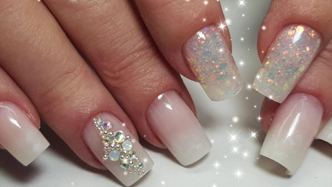 Как сделать ГРАДИЕНТ гелем + блестки | How to do Baby Boomer gel nails