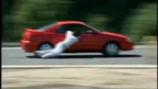 man dragged by car