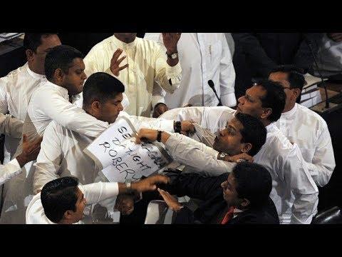 sri lanka parliament fight 2018