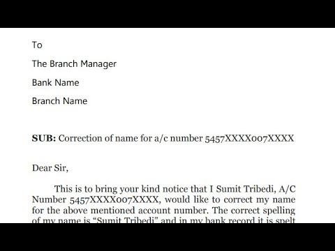 How to write application to bank manager for name spelling correction in bank record? || Hindi ...