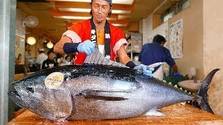 japanese food   bluefin TUNA CUTTING show tokyo japan