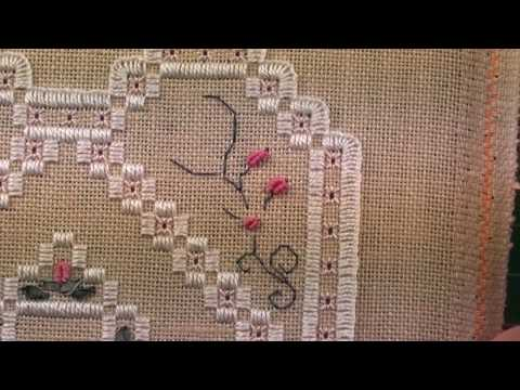 04 Heart Etui - Hardanger -  Bullion Knots and Silk Ribbon Stitching
