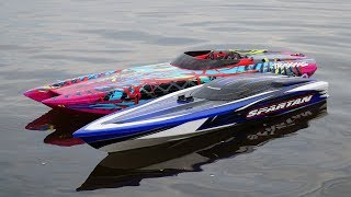 Traxxas DCB M41 Widebody Catamaran with Spartan in Epic Race   CRASH   RC Speed Boat