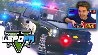 GTA 5 LIVE LSPDFR POLICE MOD Snow Chains in a Major Snow Storm | Realistic Police Patrol