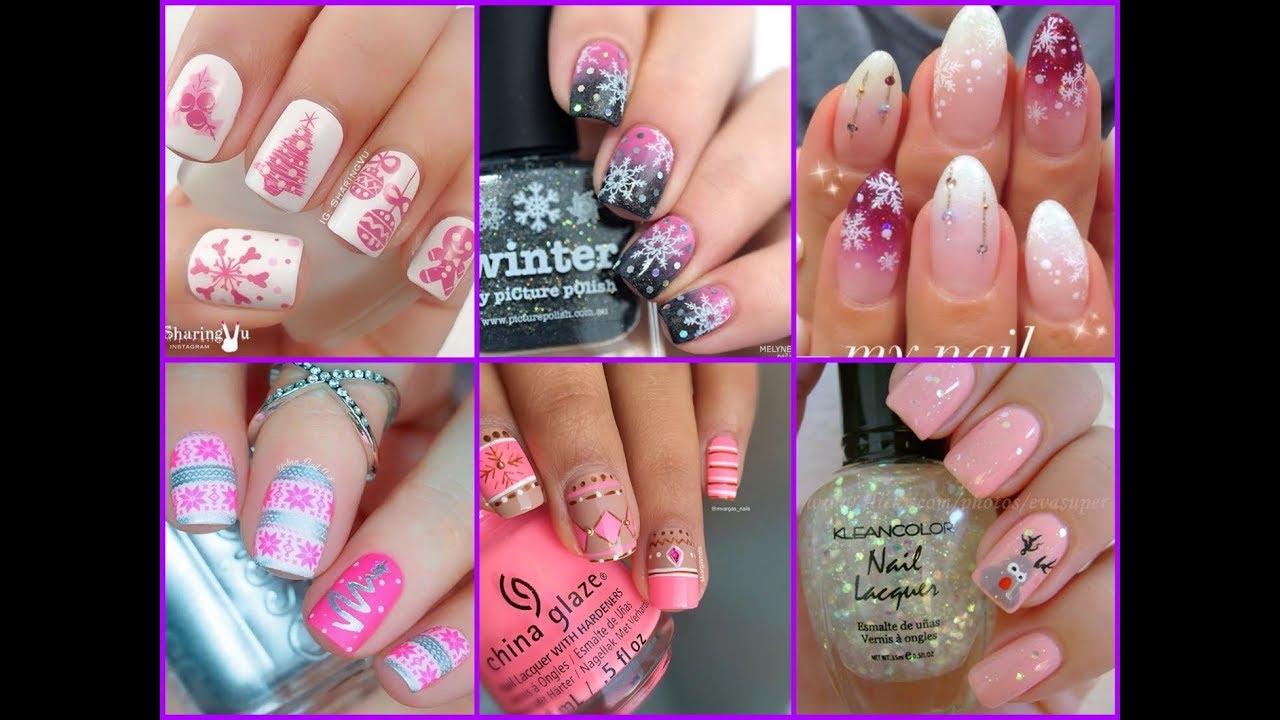 Cute Pink Christmas Nail Art Ideas And Designs