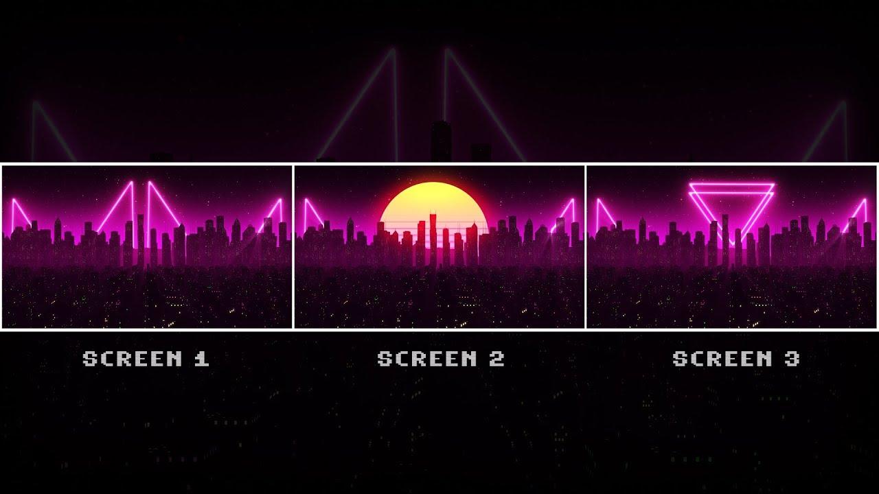 Retrowave City Triple Monitor Wallpaper Engine