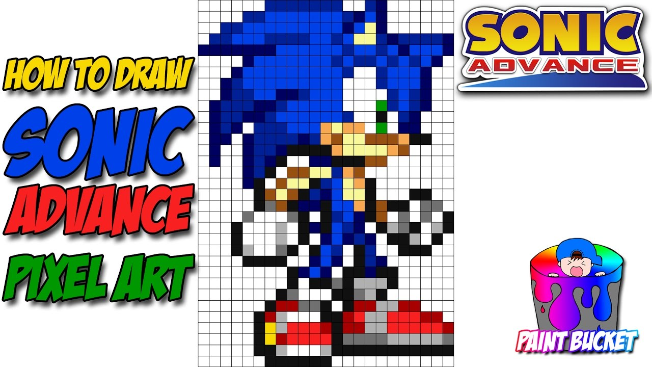 How To Draw Sonic The Hedgehog 16 Bit Drawing Sega S Sonic Advance Pixel Art Tutorial Youtube