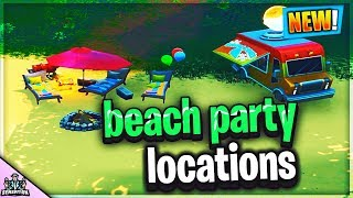 DANCE at different BEACH PARTIES 14 Days of Summer Challenges Fortnite Season 9 Locations