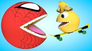 Spider Pacman Banana play Skateboarding Game as he meet Watermelon ball in Bunny Mold roll on farm