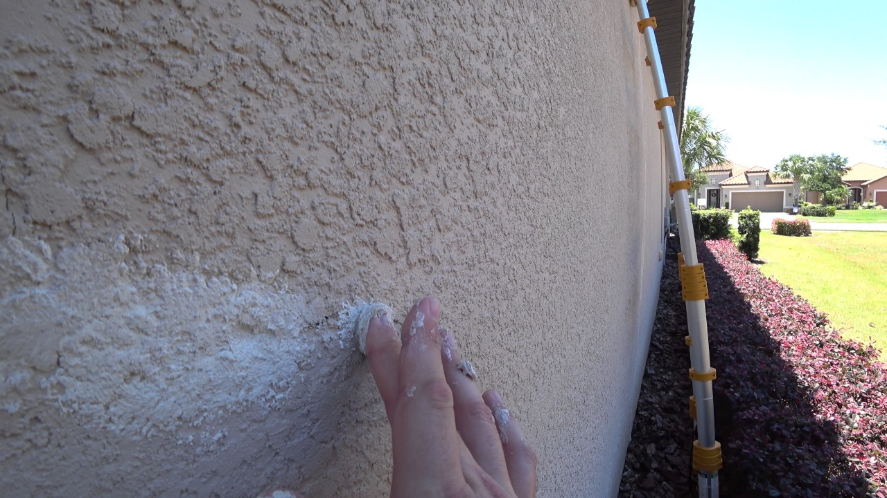 Howto Patch Stucco Exterior Wall Cracks Invisible Youtube