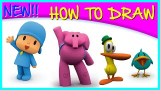 How to Draw Pocoyo and Friends - step by step