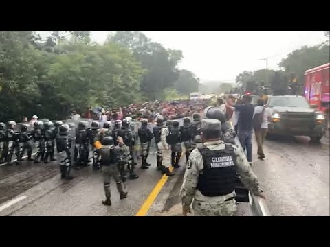 National Guard attempts to stop the caravan