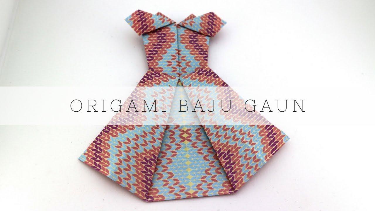Cara membuat origami bentuk gaun pesta
