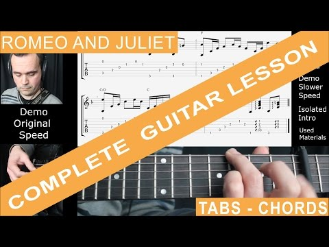 Romeo and Juliet, Dire Straits, Guitar Lesson, Tutorial, Cover, Tabs, Chords, NOTE PER NOTE Standard