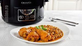 Pulpe de pui afumate cu naut, gatite la slow cooker Crock Pot