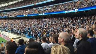 Tottenham away fans taunting Man City fans