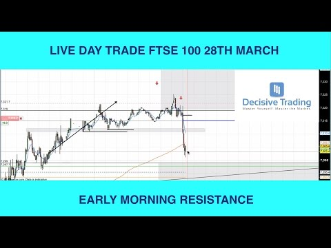 Live Day Trade FTSE 100 - Early Morning Resistance - 28th March