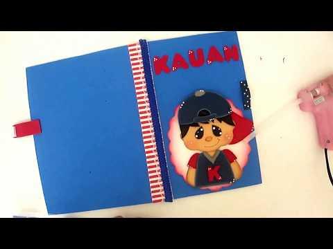 DIY - Como fazer Capa para caderno e caderneta de vacina (menino) em Eva - Art's da Indy