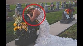 Невеста пришла на могилу жениха в день своей свадьбы и склонила голову: трогательно до слёз