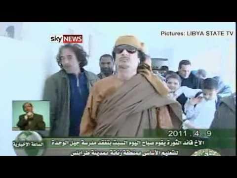 LIBYA: COL MUAMMAR GADDAFI VISITS SCHOOL IN TRIPOLI 9/4/2011.flv
