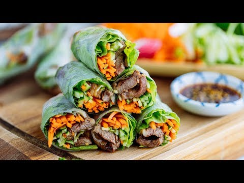 FRESH SPRING ROLLS with Yakiniku (Japanese BBQ Beef + Homemade Sauce Recipe)