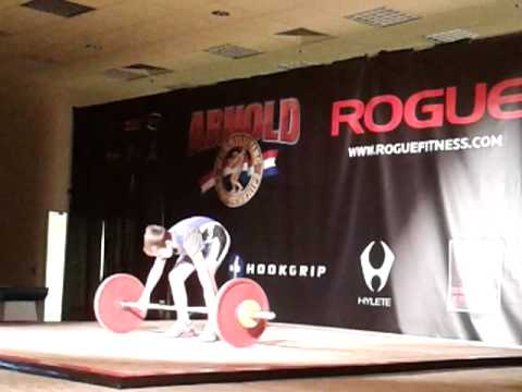 Kyle Holman 21-23-25kg snatch attempts.Arnold 2013