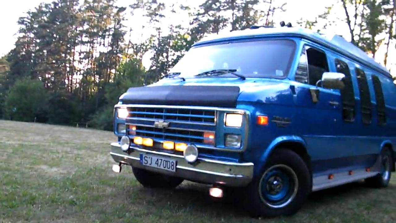 hd  chevy van g20 - wild sound big v8 engine hq  hd