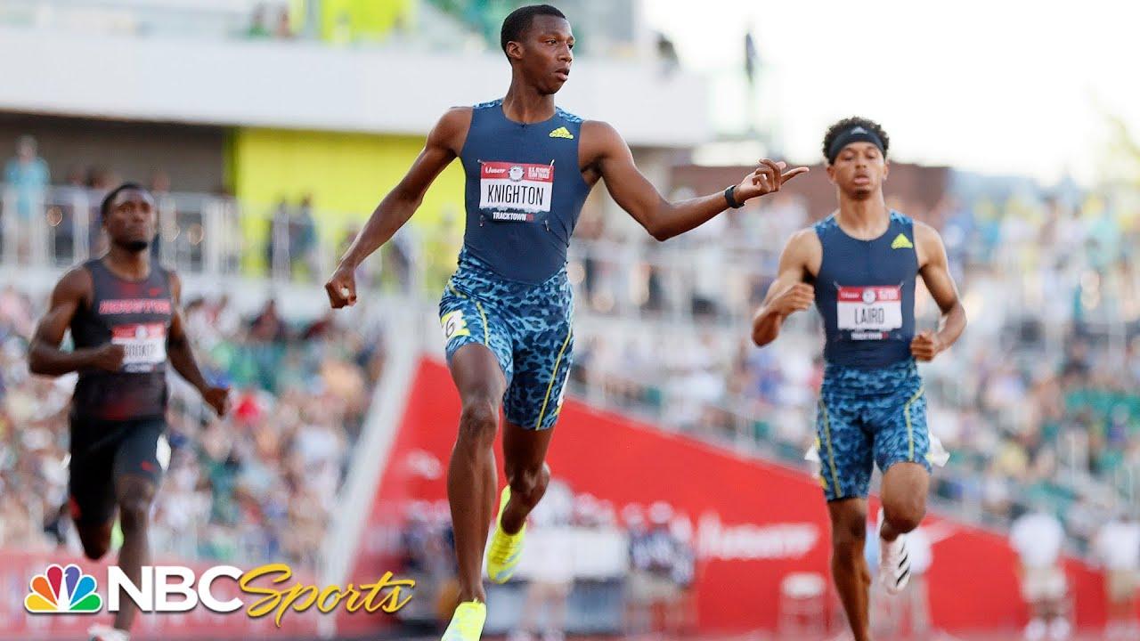 Download A Usain Bolt record falls as high schooler Knighton beats Noah Lyles AGAIN in 200m trials semi