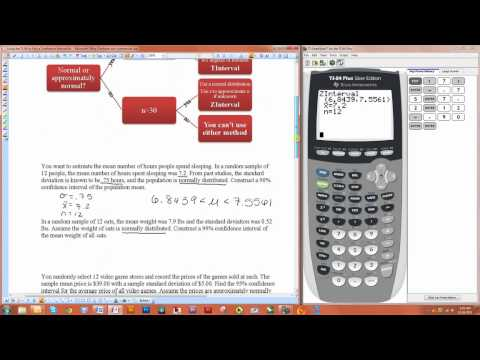 Using the TI-84 to Find a Confidence Interval for a Population Mean (ZInterval and TInterval)