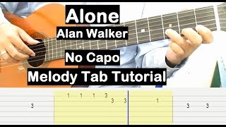 Alan Walker Alone Guitar Lesson Melody Tab Tutorial No Capo Guitar Lessons for Beginners