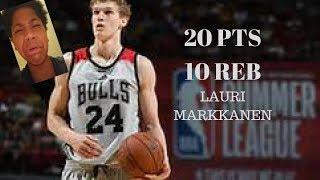 LAURI MARKKANEN IS A PROBLEM!!! 20 PTS 10 REB NBA SUMMER LEAGUE HIGHLIGHTS REACTION