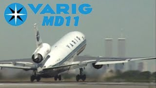 Super Close to runway for VARIG MD11 takeoff from NEW YORK JFK (1998)