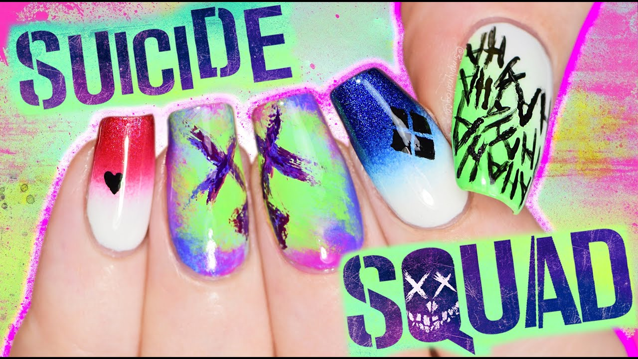 Suicide Squad Nail Art Tutorial coz I\'M BORED PLAY WITH ME - YouTube