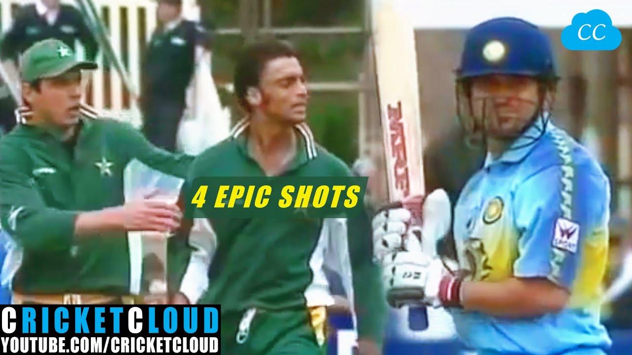 Download Sachin vs Shoaib Akhtar   4 Epic Shots vs Fastest Bowler in the World !!