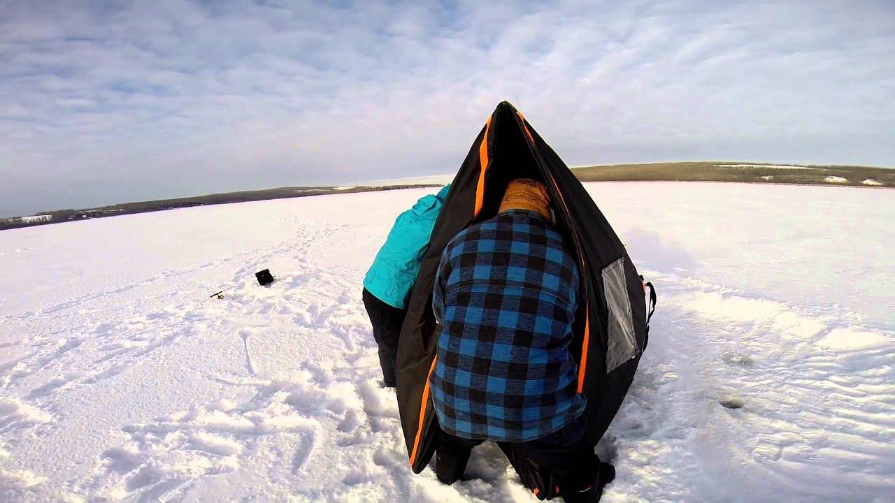 How to set up a subzero ice fishing cube tent youtube for Ice fishing setup