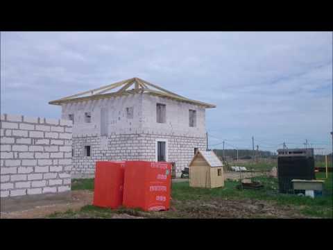 Строим дом из газобетона.Стропильная система вальмовой крыши с опиранием на балки